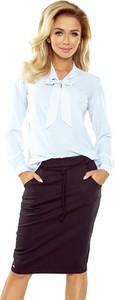 Niebieska bluzka Merg z długim rękawem ze sznurowanym dekoltem