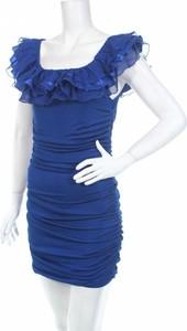 Niebieska sukienka L Mode dopasowana z krótkim rękawem