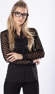 Czarna koszula Manumo z tiulu