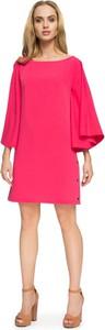 Różowa sukienka Stylove midi w stylu casual z okrągłym dekoltem