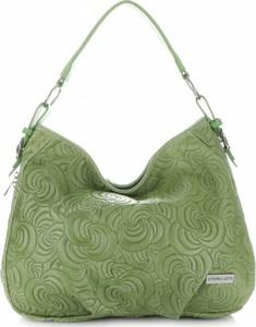 Zielona torebka VITTORIA GOTTI średnia ze skóry na ramię