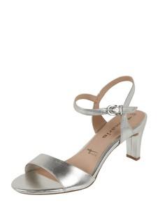 Srebrne sandały Tamaris z klamrami ze skóry ekologicznej