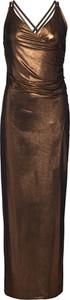 Brązowa sukienka bonprix BODYFLIRT boutique dopasowana maxi z dekoltem w kształcie litery v