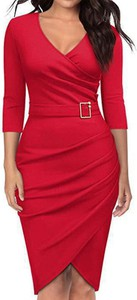Sukienka Arilook midi z dekoltem w kształcie litery v z długim rękawem