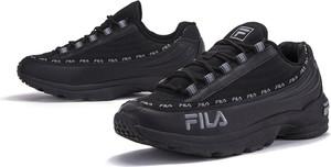 Czarne buty sportowe Fila sznurowane ze skóry
