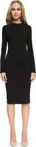 Czarna sukienka Stylove z długim rękawem w stylu casual ołówkowa
