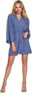Sukienka Makover z tkaniny z długim rękawem mini