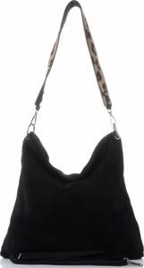 Czarna torebka VITTORIA GOTTI w stylu glamour z zamszu duża