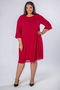 Czerwona sukienka candivia.pl z okrągłym dekoltem z tiulu