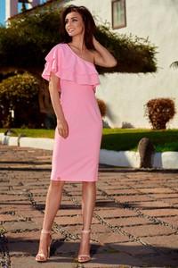 Różowa sukienka Lemoniade z asymetrycznym dekoltem