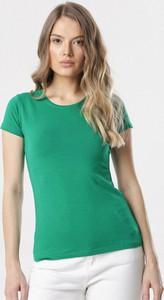 Zielona bluzka born2be z krótkim rękawem z okrągłym dekoltem w stylu casual