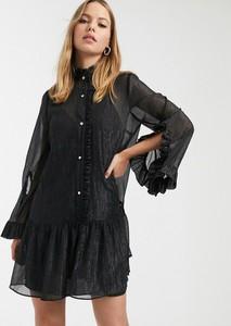 Czarna sukienka River Island z długim rękawem