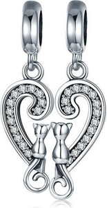 Valerio Rodowany srebrny wiszący podwójny charms pandora kot cat friends przyjaciele cyrkonie srebro 925 BEAD133