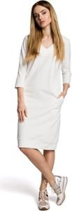 Sukienka MOE midi z długim rękawem z bawełny
