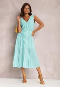 Turkusowa sukienka Renee bez rękawów midi z dekoltem w kształcie litery v