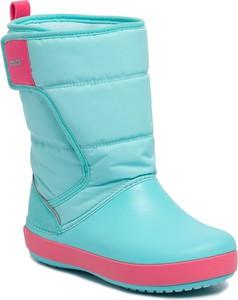Niebieskie buty dziecięce zimowe Crocs na rzepy