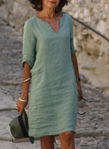 Sukienka Sandbella z lnu mini z długim rękawem