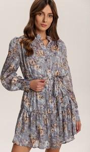 Niebieska sukienka Renee z długim rękawem mini