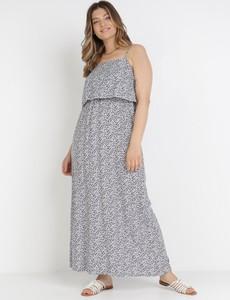Granatowa sukienka born2be z dekoltem w kształcie litery v trapezowa