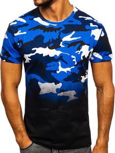 Granatowy t-shirt Denley z nadrukiem z bawełny z krótkim rękawem