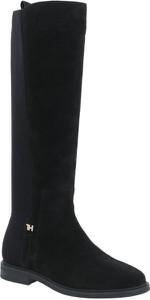 Czarne kozaki Tommy Hilfiger na zamek ze skóry w stylu casual