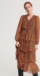 Brązowa sukienka Reserved z dekoltem w kształcie litery v
