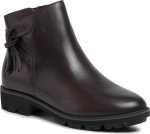 Czarne botki Caprice na zamek z płaską podeszwą w stylu casual