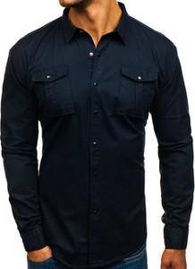Granatowa koszula Denley z klasycznym kołnierzykiem z bawełny