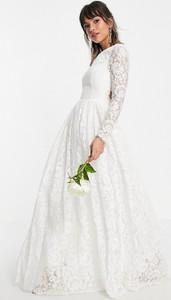 Sukienka Asos maxi z odkrytymi ramionami z dekoltem w kształcie litery v