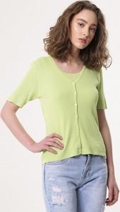 Zielona bluzka born2be z krótkim rękawem w stylu casual