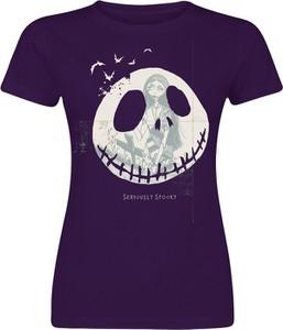 Fioletowy t-shirt Emp z bawełny z okrągłym dekoltem z krótkim rękawem