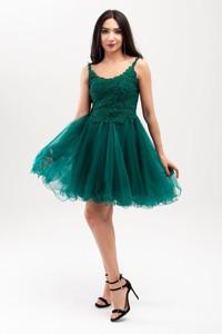 Sukienka Butik Ecru z okrągłym dekoltem rozkloszowana