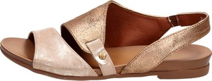 Złote sandały Suzana w stylu casual z klamrami ze skóry