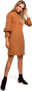 Brązowa sukienka Merg z okrągłym dekoltem w stylu casual z długim rękawem