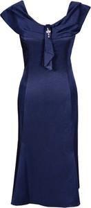 Granatowa sukienka Fokus z dekoltem w kształcie litery v z krótkim rękawem