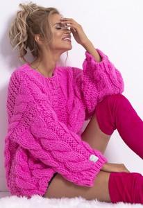 Różowy sweter Fobya w stylu casual z wełny