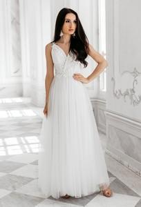 Sukienka Sukienki M&M maxi z dekoltem w kształcie litery v z tiulu