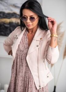 Różowa kurtka Fason w stylu casual z zamszu
