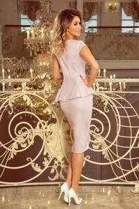 Sukienka NUMOCO z zamszu z krótkim rękawem baskinka