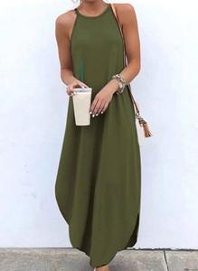 Sukienka Cikelly z okrągłym dekoltem bez rękawów maxi