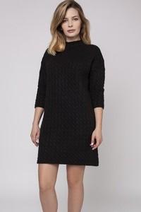 Czarna sukienka Mkm Swetry w sportowym stylu midi z długim rękawem