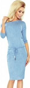 Błękitna sukienka NUMOCO z długim rękawem midi