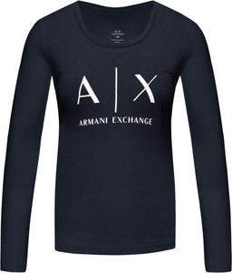Granatowa bluzka Armani Jeans z okrągłym dekoltem w stylu casual