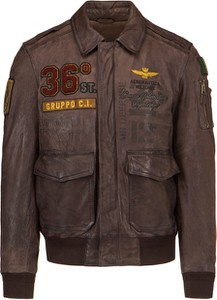 Brązowa kurtka Aeronautica Militare w młodzieżowym stylu ze skóry krótka