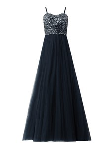 Granatowa sukienka Luxuar Fashion bez rękawów gorsetowa maxi