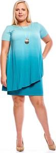 Sukienka Fokus oversize z krótkim rękawem z okrągłym dekoltem