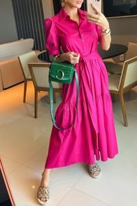 Różowa sukienka IVET z długim rękawem trapezowa z dekoltem w kształcie litery v