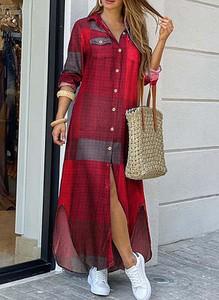 Sukienka Cikelly koszulowa z długim rękawem maxi