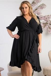 Czarna sukienka KARKO z długim rękawem kopertowa w stylu casual