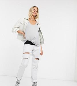 Topshop Maternity – Mocno wybielane jeansy mom fit o kroju odsłaniającym brzuch-Niebieski